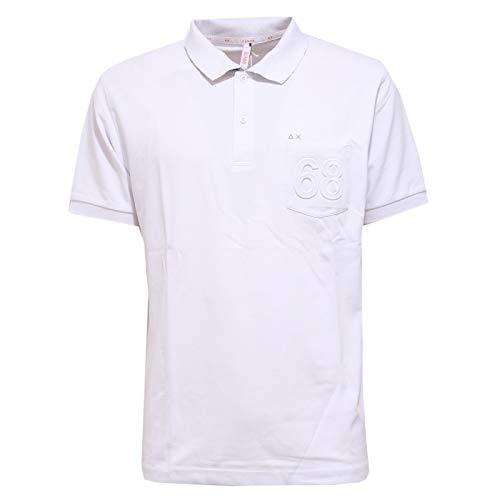 SUN 68 6404AA Polo Uomo Mix Cotton White Polo t-Shirt Man [S]