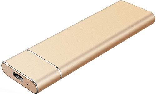 External Hard Drive 1T 2T, Slim Aluminum USB3.0 HDD Storage for PC, Mac, Desktop, MacBook, Chromebook, Xbox 360 (2TB Gold)
