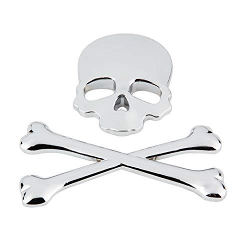 Homoyoyo 3D Calavera Metal Esqueleto Tibias Cruzadas Pegatina Calcomanía Calavera Emblema Insignia para Coche Motocicleta (Plata)