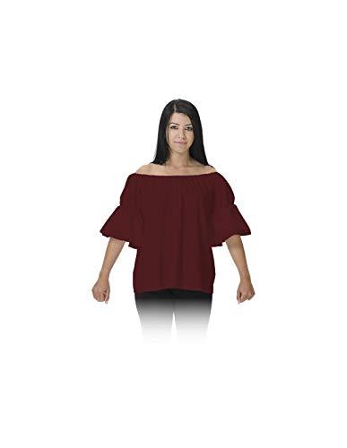 DISBACANAL Camisa de tabernera Medieval - Granate, Adulto