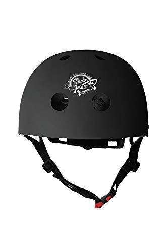 Casco Skateboard Testato a Norma CEE Esterno in ABS Interno in EPS con Anello di microregolazione (Nero-Area, Large 58-60 cm)