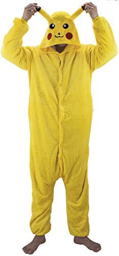 Gojoy shop- Disfraz de Pikachu para Hombres y Mujeres Halloween Carnaval (Contiene Pijama con Capucha, Talla Unica)