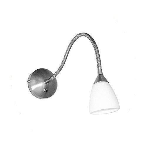 Lampenlux Wandlampe Wandleuchte Togo Leselampe Schalter Glas Weiß Schwanenhals Bettleuchte Bettlampe Nickel gebürstet