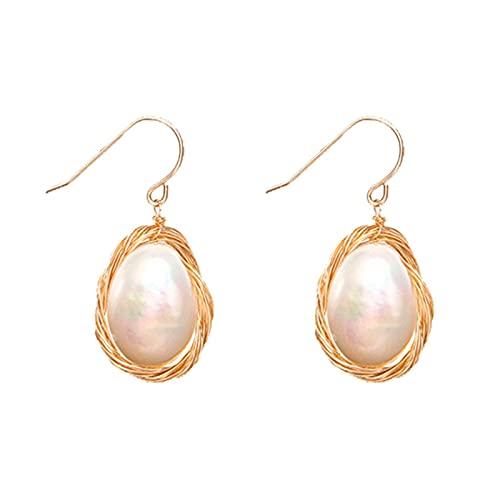KINGVON KINGVON Aretes de perlas pulidas de doble cara de oro de 14 k, aretes de perlas enrolladas a mano, regalos de joyería simples y de moda, oro