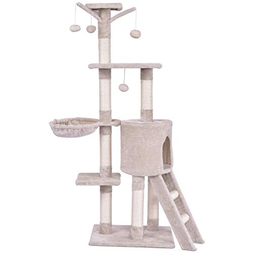 Tangkula 56-inch Cat Tree, Multi-Level Kitten Tower Condo with Scratching Post and Ladder, Pet Furniture Pet House for Kittens, Cat Activity Tower