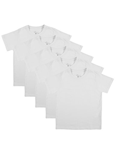 Ultrakidz Kinder 5er Pack T-Shirt Rundhals, Weiß, 116-112