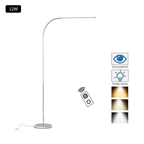 ACHNC LED Stehlampe Dimmbar Mit Fernbedienung, 12W Bürolampen Minimalistische Moderne Edelstahl Stehleuchte Leselampe Für Wohnzimmer Schlafzimmer Büro Arbeitszimmer, Flexibler Schwanenhals, Silber