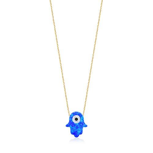 GELIN Collar de cadena con colgante de ojo de Hamsa azul oscuro de oro de 14 quilates para mujeres y niñas, 45,7 cm
