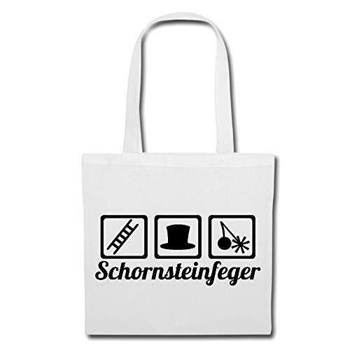 Tasche Umhängetasche SCHORNSTEINFEGER - KAMINFEGER - KAMIN - SCHORNSTEIN - GLÜCKSBRINGER Einkaufstasche Schulbeutel Turnbeutel in Weiß