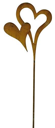 levandeo Stele Herz Garten-Deko 13x58cm Gartenstele Rost Gartenstecker Eisen Rostdeko Schild Love Liebe Edelrost