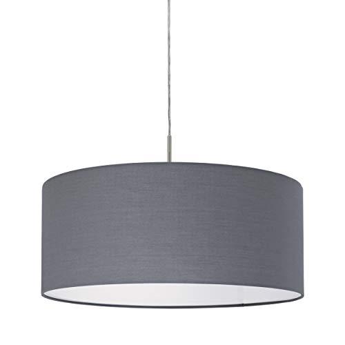 EGLO Pendellampe Pasteri, 1 flammige Textil Pendelleuchte, Hängeleuchte aus Stahl und Stoff, Farbe: Nickel matt, grau, Fassung: E27, Ø: 53 cm