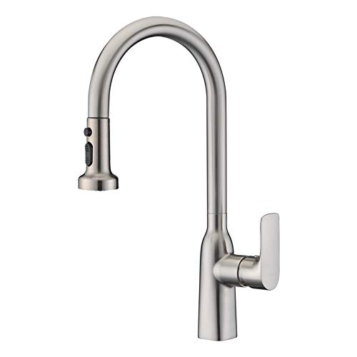 Kitchen Sink Taps Brushed Nickel WENKEN Single Handle Solid Brass Monobloc Mixer Kitchen Tap with Pull Out Swivel Spout