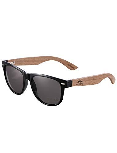 GREENTREEN Amexi Herren Damen Polarisierte Sonnenbrille, Unisex Holz/Bambus Sonnenbrille, UV400 (schwarz)