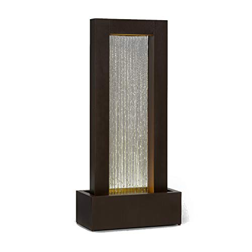 Blumfeldt Skyriver Garden Fountain- Water Feature, Indoor Fountain, Decorative Fountain, Indoor & Outdoor, Water Feature in LoopFlow Concept, 393 inches Cable with Safety Plug, Lighting, Bronze Look