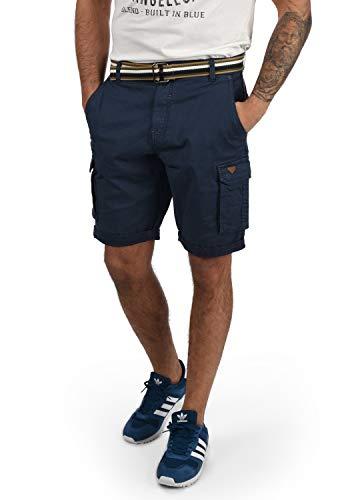 Blend Brian Herren Cargo Shorts Bermuda Kurze Hose Mit Gürtel Regular Fit, Größe:XL, Farbe:Navy (70230)