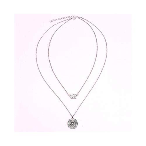 2 Capas de la Media Luna Collar de Lotus for el Verano de Las Mujeres Colgante Largo Cuerno Collares (Metal Color : A0012 Silver)