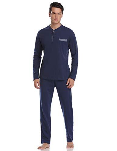 Abollria Pigiama Uomo Lungo Invernale Pigiama da Uomo Due Pezzi con Maniche Lunghe in Cotone Blu XL