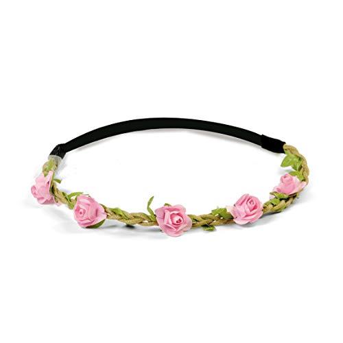 Acessorio Tiara com Elastico Floral Mini Rosa com 1 Unidade, Cromus, CROMUS29001810