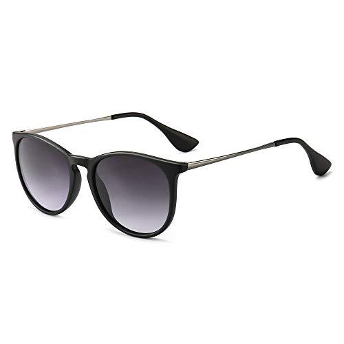 SUNGAIT Gafas de Sol Polarizadas Mujer Hombre Retro Redondas Unisex UV400 Proteccion(Marco Negro Lentes Gradiente Gris)-SGT567