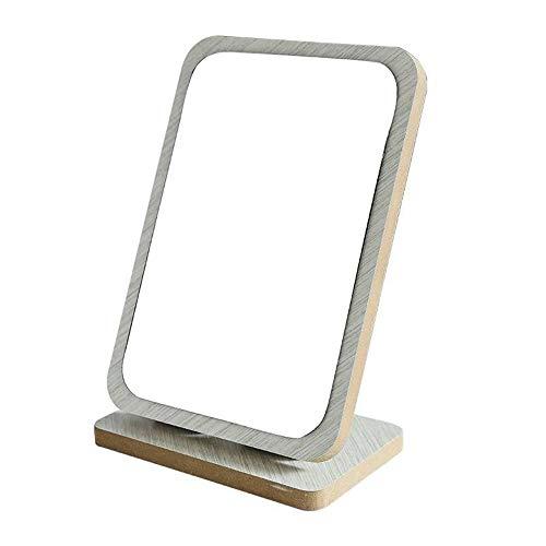 Bathroom Mirror LDFZ tafelcosmeticaspiegel, houten frame, compacte draagbare opvouwbare reisspiegel, rustieke afwerking, instelbare hoek