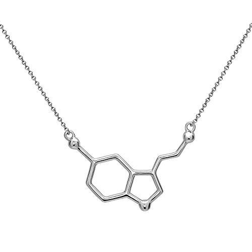 Serotonina Molécula Colgante Collar | Hecho de Plata de Ley 925 | Color Plata, Oro, Oro Rosa | by Serebra Jewelry (Rodio plateado)