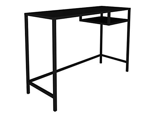 lifestyle4living Schreibtisch in Schwarz, Metall, 100 x 36 cm | Bürotisch mit Ablage-Fach im Industrial Style