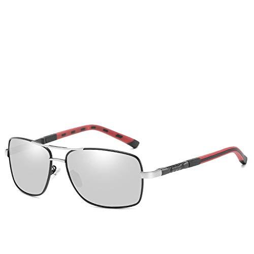 Gafas de Sol,Gafas de sol polarizadas para hombre Gafas de sol polarizadas cuadradas de película en color Espejo de conducción, marco negro Marco plateado Mercurio blanco n. ° 7