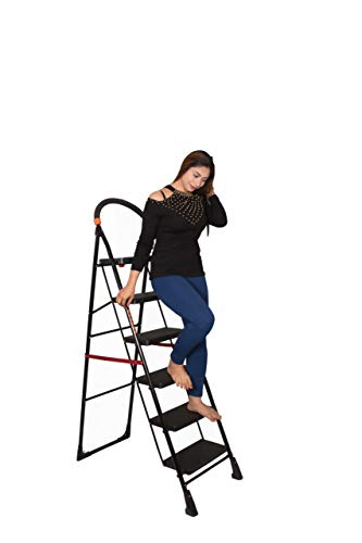 Parasnath Steel Heavy Folding Ladder Milano with Wide 6 Steps (Black)