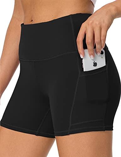 IOJBKI High Waisted Biker Shorts Tummy Control Yoga Workout Running Shorts with Pockets for Women(KH511-Black-M)