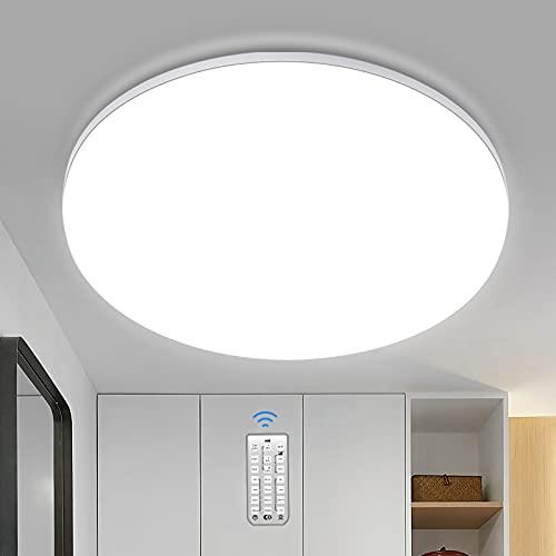 Oeegoo LED Deckenleuchte mit Bewegungsmelder, 18W 1800lm Sensor Deckenlampe Bewegungsmelder mit Fernbedienung, IP54 Badlampe Led Sensorlampe für Bad Flur Balkon Keller Treppe Garage 4000K Rund