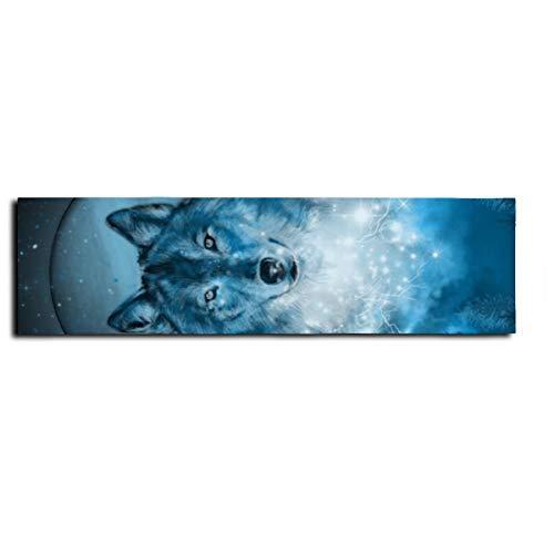 wolf in blue - Adhesivo antideslizante para monopatín, monopatín, monopatín, escaleras, pedal de 22 x 83 cm