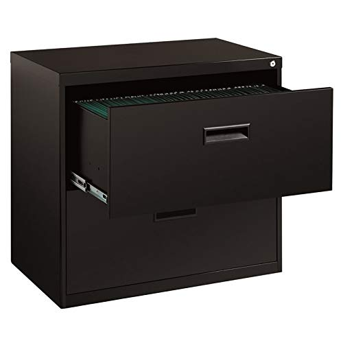 Bowery Hill 2 Drawer Lateral File Cabinet in Black, Fully Assembled