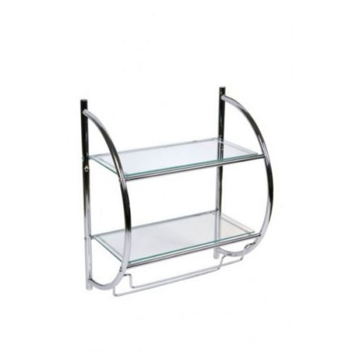 Hochwertiges Designer Badregal Wandregal Glasregal - mit 2 Ablagen Größe: 45*26*54cm - aus Glas - Korpus aus verchromtem Metall - mit zwei Handtuchhaltern