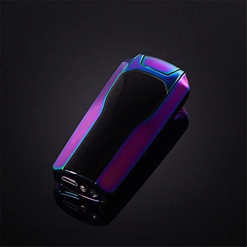 GJQDDP Accendino Elettrico, Antivento Senza Fiamma   Accendini per Sigarette Candele da Campeggio per casa e Cucina Compleanni   Accendino a Doppio Arco USB al Plasma con Caricabatterie a LED,Viola