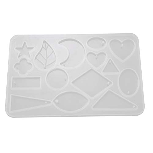 HEALLILY Resin Molds Leaf Moon Heart Geometric Silicone Casting Molds DIY Epoxy Mold Crystal Drop Mold Necklace Pendant Earrings Pendant Jewelry Silicone Mold (White)