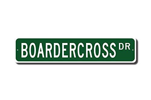 Wini2342ckey Boardercross Geschenk Boardercross Schild Snowboard Motocross Snowboard Race Straßenschild Metall Wandkunst Weihnachten lustige Geschenke Frauen 10,2 x 45,7 cm