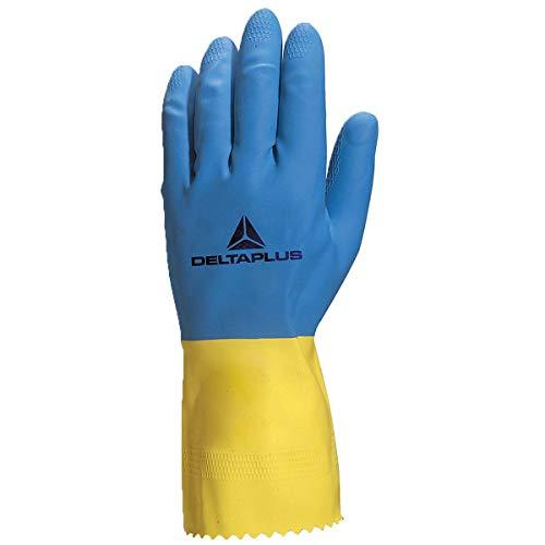 Deltaplus VE330BJ07 Latex-Haushaltshandschuh Duocolor 330, Blau-Gelb, Größe 7/8