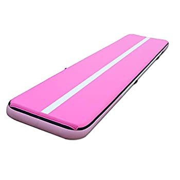 SEASEESUP 20ft Gymnastics Air Tumbling Mats 8  Track Inflatable Training Mat Air Floor Track for Practice Yoga Cheerleading Home Training Water with Electric Pump Pink