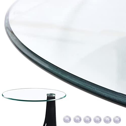 Tapa De Cristal Para Mesa Redonda - Transparente Vidrio Templado Grosor: 9 Mm, Ø43cm/48cm/55cm/60cm/70cm, Para Café/Mesa/Hogar/Mesa De Jardín, Fácil De Limpiar ( Color : Clear , Size : 80cm(31.5in) )