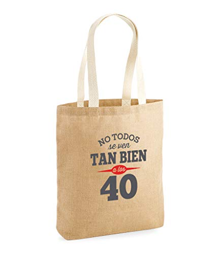 Design, Invent, Print! Bolsa de Yute de 40 cumpleaños - para Mujer - como Regalo, Recuerdo o para Hacer la Compra - Natural - 42 x 39.5 x 6 cm