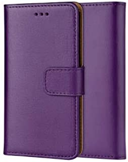 ameego Premium Genuine Real Leather Flip Wallet Magnetic Kickstand Slim Book Case Cover for Samsung Galaxy S4 Mini Leather Wallet Book Flip Case Cover (Purple)