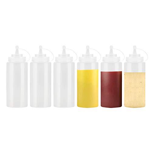JJOnlineStore - 6 pzas Botella Exprimible de Plástico Transparente Dispensador de Condimentos Ketchup Mostaza Chili Mayonesa Salsa Vinagre Tapa de Botella en Rosca y Tapa (12 Oz / 375ml)