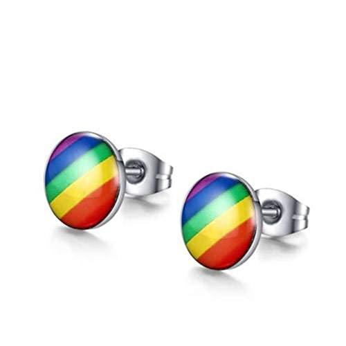 CHIY-GBC Clásico LGBT Arco Iris Bandera Pendientes Gay Orgullo Encanto aleación Esmalte oído Studs para Hombres Mujeres Moda joyería Amantes Regalo