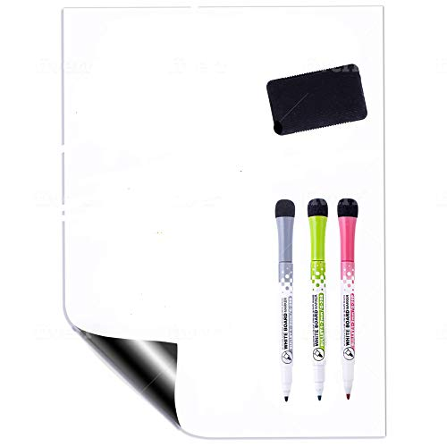 Magnetic Dry Erase White Board Sheet for Refrigerator by GoSupplyWise - Small 12x8 inch Whiteboard Sheet, Eraser and 3 Markers with Magnets - Boards Stick to Fridge-Use Marker for List or Chore Chart