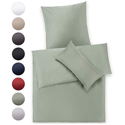 Blumtal Mako Satin Bettwäsche 135 x 200 cm mit Kissenbezug 80x80 cm - 100% Baumwolle, Superweiches Bettbezug Set, Summer Green