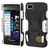 ASMYNA Black/White Advanced Armor Stand Protector Cover (Rubberized) compatible with BlackBerry Z10