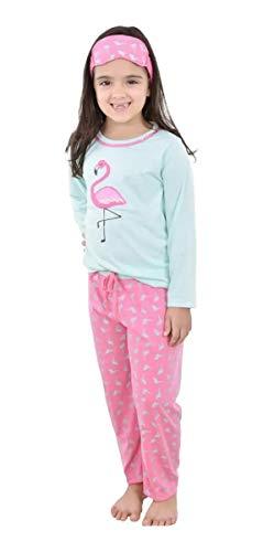 Pijama 4 Estações Flamingo Animais Infantil Com Tapa Olho Brinde (6, Verde c/rosa)