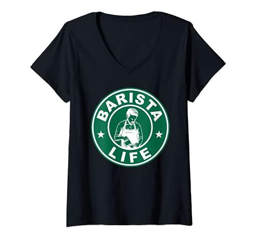 Mujer Barista Life Café Portafiltro Espresso Homebarista Cafeína Camiseta Cuello V