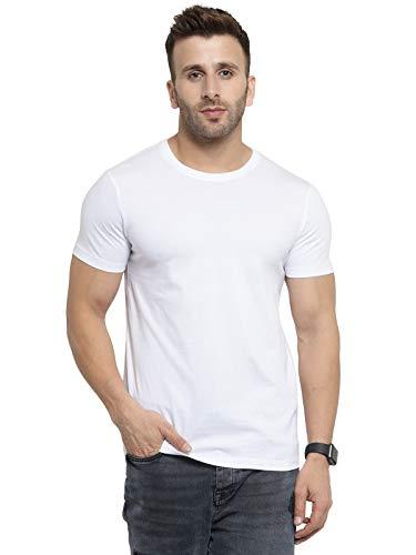 Scott International Men's 100% Cotton Biowash Round Neck T-Shirt (BSH4-WH-M, White)
