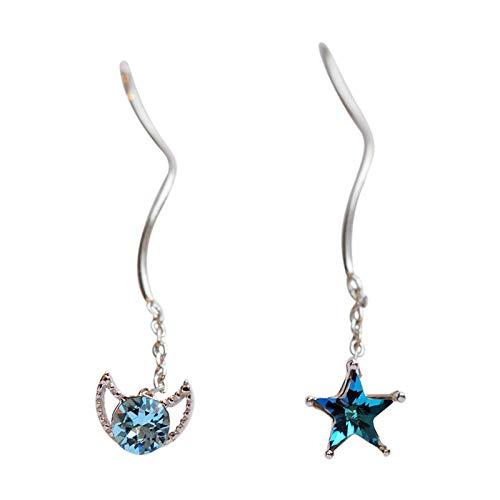 Blue Xingyue Ancient Earline vrouwelijk, hypoallergeen, asymmetrische oorbellen, 925 zilveren naalden, 4 * 0,7 cm